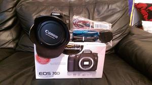 Canon 70d camera body whit mm f2.8 is lens like new condition battery charger trap lens hud cap