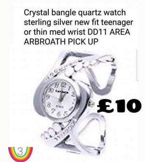 Crystal bangle quartz watch