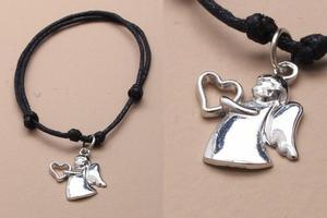 JTY038 - Black corded adjustable bracelet with guardian