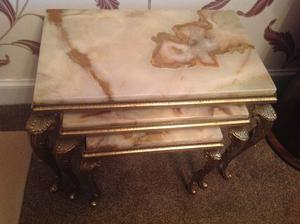 Marble & brass trio of side tables
