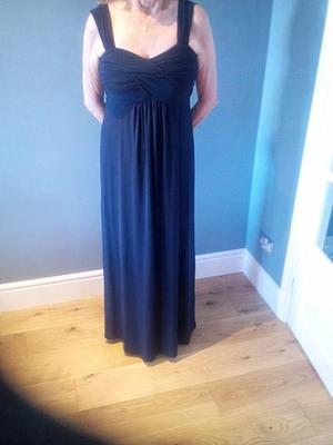 SIZE 12, NAVY BLUE, FULL LENGTH DRESS BY 'PLANET'. NEVER