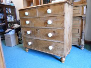 BEAUTIFUL LARGE ANTIQUE PINE STRIPPED VICTORIAN 2 OVER 3 CHEST OF DRAWERS