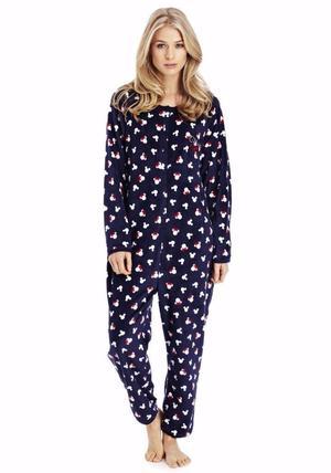 Brand New Official Disney Ladies Minnie Mouse Onesie Pyjamas Navy Blue Size  Womens Xmas Gift