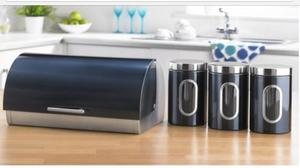 Brand new stainless steal teal bread bin set