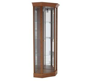 Corner Glass Display Cabinet - Dark Oak Effect