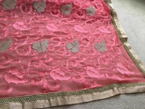 Rose coloured, gold/diamond edged saree