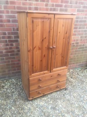 Small pine wardrobe with 3 drawers