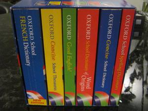 Boxed Set of 6 Oxford School Reference Books (Dictionary x 4 / Thesaurus / Grammar Guide)