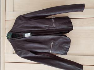 Burgundy leather look jacket