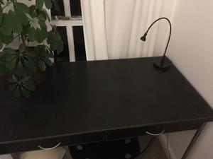 Desk, faux leather surface, 80 cm high x 122 cm wide x 66 cm deep.