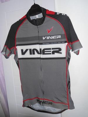 Viner Italian made Cycling Jersey. Grey, White, Black, and Red. Size: XL