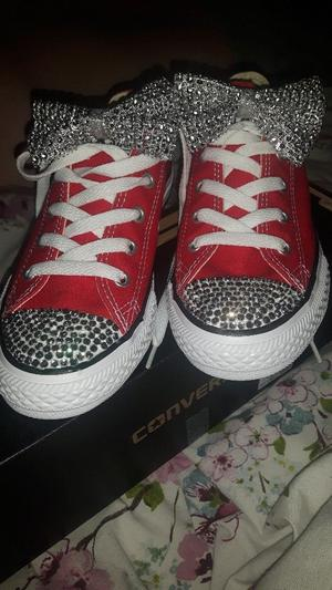 Girls red converse shoes bling