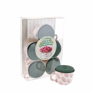 OASIS SMALL VINTAGE PATTERN TEA CUPS FOAM 6 IN A BOX X 2 GREAT FOR TABLE FLOWER DECORATION