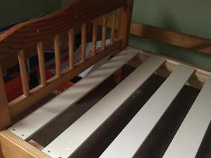 Toddler bed with mattress and bed guards
