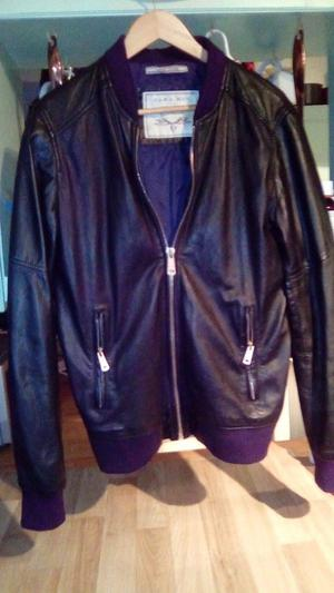 Zara mens black leather zip up jacket size large very good condition