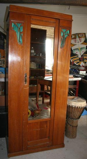 Antique glazed hall wardrobe cupboard