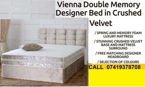 New Styles Crush velvet Double Divan Base With Semi Orthopaedic Mattress