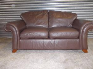 Two Next Brown Leather Roll Arm Sofas (Suite)