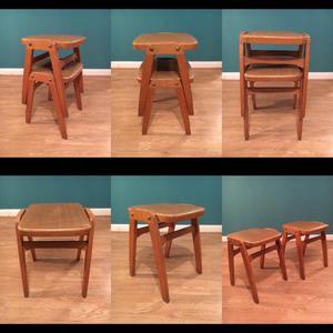 Vintage retro pair of vinyl top stacking stools kitchen