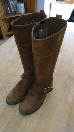 Clarks Tan New Buck Knee High Boots Size 6