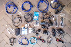 Job lot of electrical connectors and cables – TV, scart, phone, audio etc