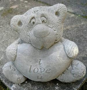 TEDDY BEAR SCULPTURE STONE GARDEN ORNAMENTS DELIVERY POSSIBLE