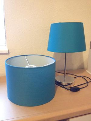 AQUA BLUE CEILING SHADE AND MATCHING LAMPSHADE