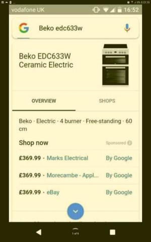 Brand new beko 60cm ceramic hob electric cooker in the box with warranty £250