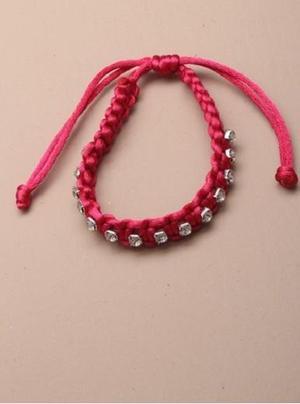 JTY049 - Pink Braided cord diamante bracelet.