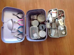 Jewellery making - box contains beads, tools, lots of findings.
