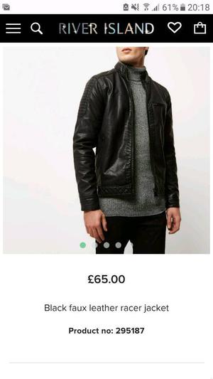 Mens River Island Leather Jacket