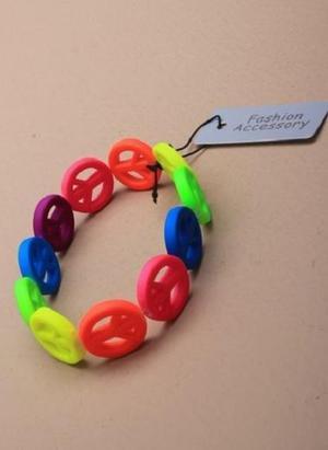 JTY061 - Multi coloured peace symbol stretch bracelet