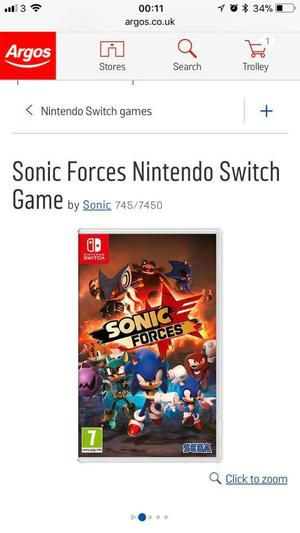 Sonic forces game Nintendo Switch - brand new £25