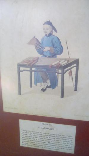 Three antique prints Chinese people at work framed