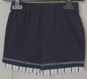 BABY BOYS NAVY SHORTS WITH STRIPE TRIM - AGE 18 MTHS