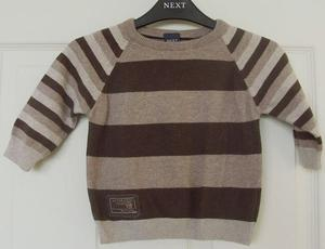 BABY BOYS SMART BROWN 2 TONE STRIPE JUMPER BY NEXT