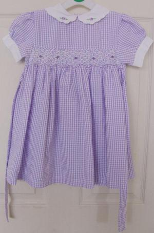 BABY GIRLS LILAC CHECK DRESS BY MACKAYS - AGE  MTHS