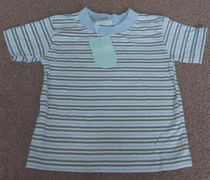 BNWT BOYS PALE BLUE STRIPED TOP - AGE 3/6M