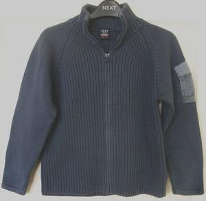 BOYS BLUE GREY RIBBED CARDIGAN BY NEXT - AGE 5/6 YRS