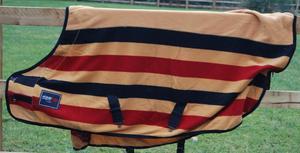 Brand new Equenox red/black/gold stripe fleece rug