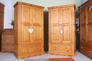 DELIVERY OPTIONS - 2 MATCHING PINE WARDROBES ALL TONGUE