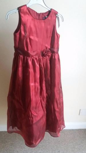 Debenhams Satin type material red dress for age 8 as new