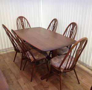 ERCOL 6 FOOT RECTANGULAR DINING ROOM TABLE AND 6 CHAIRS