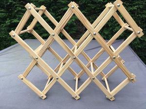 Folding wooden wine rack