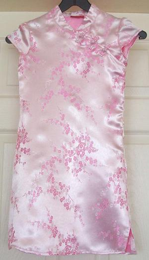 GIRLS FLOWERED SATIN LOOK DRESS BY TIGER LILY - AGE 8 YRS