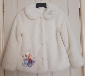 Girls Official Disney Store Frozen Faux Fur Coat Age 9/10 yr