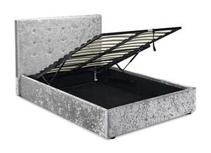 Grey Crushed Velvet, Double, Storage, Ottoman, lift up bed, single Bed, Frame, spring, Mattress.