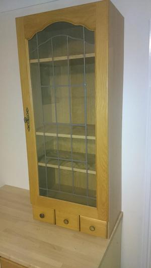 Kitchen Display cabinet with Leaded Glass Oak Doors