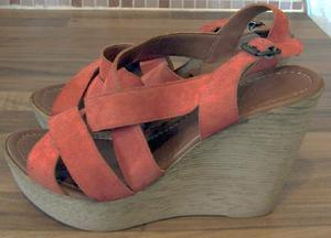 Ladies orange/rust leather wedge heels by next - sz 7