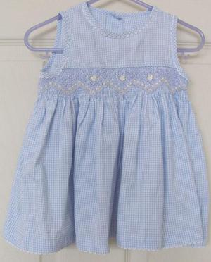 PRETTY GIRLS BLUE CHECK DRESS BY MARKS & SPENCER - AGE 3/6 M